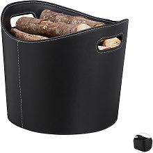Relaxdays Faux Leather Firewood Basket, Sturdy Log
