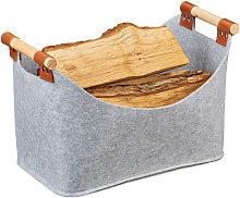 Relaxdays Felt Bag, Felt Storage Basket, Foldable
