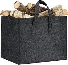 Relaxdays Felt Firewood Basket, HxWxD: 34.5 x 43 x