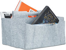 Relaxdays Felt Newspaper Basket, HxWxD: 22 x 32 x