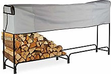Relaxdays Firewood Rack, Extra Wide, With Cover