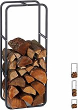 Relaxdays Firewood Rack, Log Stacking Aid, Steel,