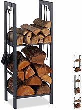 Relaxdays Firewood Rack with 2 Shelves Steel 4