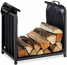 Relaxdays Firewood Stand with Wooden Carry Bag for
