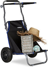 Relaxdays Folding Beach Cart, Lounger with Roof