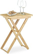 Relaxdays Folding Side Table, Bamboo Wood, Small
