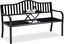 Relaxdays Garden Bench with Pop-up Table, 3