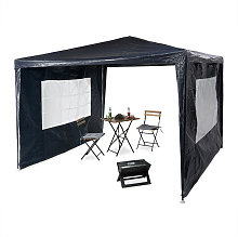 Relaxdays Gazebo 3x3 m, 2 Side Walls, Metal Frame,