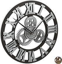 Relaxdays Gear Wall Clock, No Ticking Noise, Roman