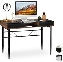 Relaxdays Glass Desk, Cable Hatch, Office Table