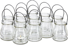 Relaxdays Glass Tea Light Candle Holder, Set of
