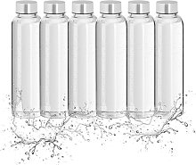 Relaxdays Glass Water Bottle Set of 6, with Fabric