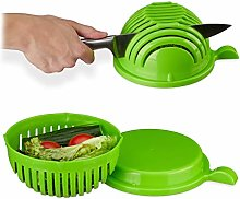 Relaxdays Green Salad Slicer, Cutter Bowl and Lid,