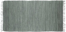 Relaxdays Grey Rag Rug 70 x 140 cm with Fringes