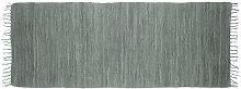 Relaxdays Grey Rag Rug 80 x 200 cm with Fringes