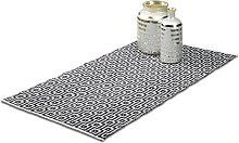 Relaxdays Hallway Carpet Rug, 70 x 140 cm, Handmade, Designer Cotton Mat, Short Fibre, Black-White