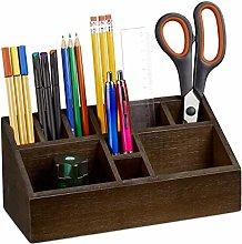 Relaxdays Holder, Bamboo Desk Organiser with 10