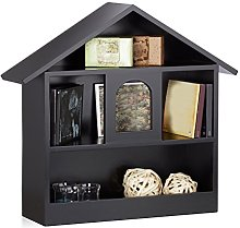 Relaxdays House Wall Shelf with 3 Compartments,