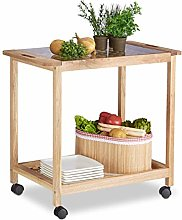 Relaxdays Kitchen Cart with Wheels, Wooden Serving