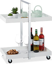 Relaxdays Kitchen Trolley with 2 Shelves, Chromed