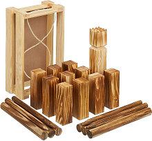 Relaxdays kubb Viking game, 21 wooden pawns,