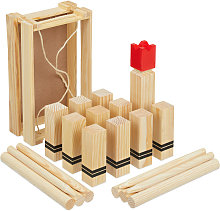 Relaxdays kubb Viking game, wooden throwing play,