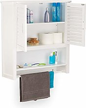 Relaxdays LAMELL Bamboo Wall Cabinet, Hanging
