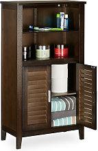 Relaxdays LAMELL Dark Brown Bathroom Cabinet,
