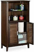 Relaxdays LAMELL Dark Brown Bathroom Cabinet,