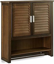 Relaxdays LAMELL Dark Brown Wall Cabinet, Bamboo