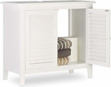 Relaxdays LAMELL White Under-Sink Cabinet, Bamboo,