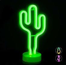 Relaxdays LED Cactus Light, Decorative Neon Sign