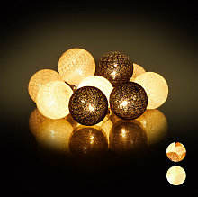 Relaxdays LED String Lights with 10 Cotton Balls,