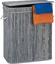 Relaxdays Lidded Laundry Hamper, 2 Compartments,