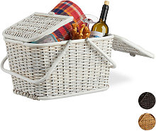 Relaxdays Lidded Picnic Basket. Braided with