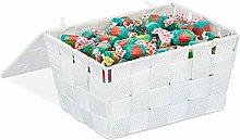 Relaxdays Lidded Storage Basket with Lid, Bathroom
