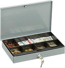 Relaxdays Locking Cash Box, Flat Metal Case with