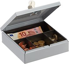 Relaxdays Locking Cash Box with Coin Tray, Money