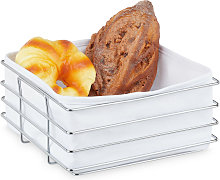 Relaxdays metal bread basket with lining, modern