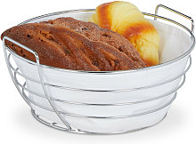 Relaxdays metal bread basket with lining, round
