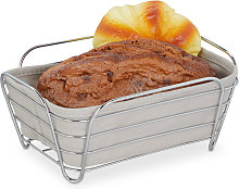 Relaxdays metal bread basket with lining, square