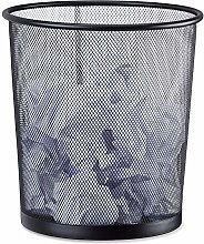 Relaxdays Metal Trash Can, Mesh Waste Basket,