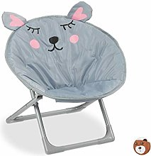 Relaxdays Moon Chair Kids Foldable Indoor &