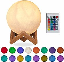 Relaxdays Moon Lamp 3D, 16 Colours, Dimmable,