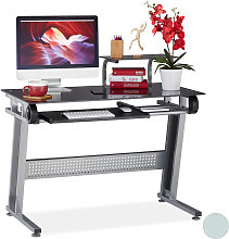 Relaxdays PC Desk, Glass, Keyboard Tray & Shelf,