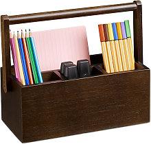 Relaxdays Pen Holder, Bamboo Desk Organiser with
