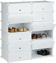 Relaxdays Plastic Shoe Cabinet, Shoe Rack, 12