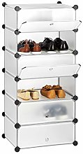 Relaxdays Plastic Shoe Cabinet, Shoe Rack, 6