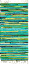 Relaxdays Rag Rug 70 x 140 cm with Fringes made of
