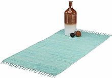 Relaxdays Rag Rug with Fringes, Handwoven Carpet